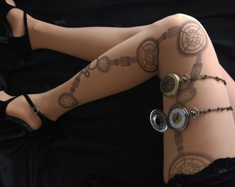 New Steam Punk Printed Tights, Steampunk Clock Tattoo Tights, Steampunk  Wedding, Pantyhose, Stocking