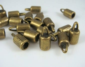 Brass Cord Ends - Antiqued Bronze End Caps (9369AB) - Glue in Cord End Caps - 14x6.5mm (4mm hole) - Select Qty.
