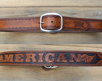 Custom Leather Belt with Personalized Lettering, Tooling, Made In USA, Mens, Handmade, Gift, Mens, Womens, Biker, Rocker, Punk, America