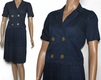 Vintage 1950s Outfit Pleated Skirt Navy Blue Suit Polka Dot Outfit