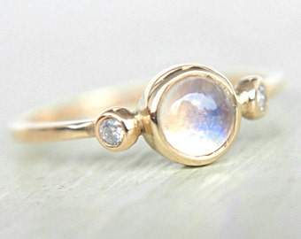 Rainbow Moonstone and Diamond Ring 14k Yellow Gold Natural Moonstone Diamond Gold Ring Made in Your Size Rainbow Moonstone Engagement Ring