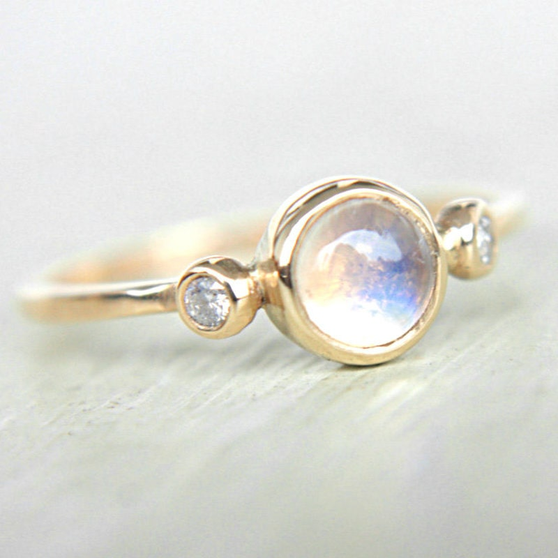 Moonstone Engagement Rings Etsy