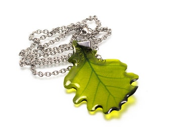 Oak leaf necklace. It's unique and see through. Free gift box.