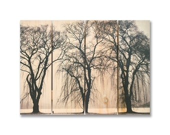 22x16 Winter Trees, Black and White Trees on Solid Cedar, Indoor and Outdoor Safe Wall Art (WIT2216)