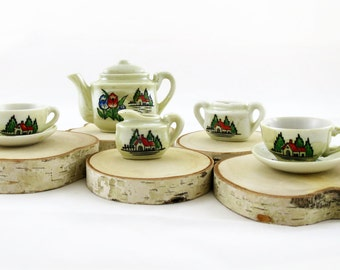 Vintage 1950's Retro Children's Porcelain Tea Set for Two