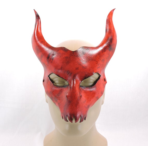 diablo mask red leather halloween cosplay by hallowedhauntings. Black Bedroom Furniture Sets. Home Design Ideas