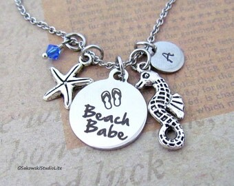 Beach Babe Starfish Seahorse Personalized Hand Stamped Initial Birthstone Antique Silver Beach Babe Charm Necklace