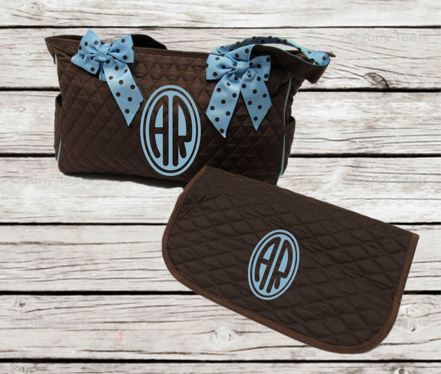 monogrammed diaper bag and diaper changing pad by djammarmaternity. Black Bedroom Furniture Sets. Home Design Ideas
