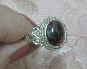 Garnet Sterling Ring Sizes 4 1/2 and 8