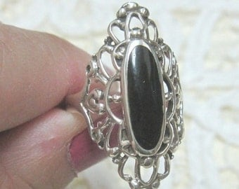 Black Onyx Sterling Silver Ring 9