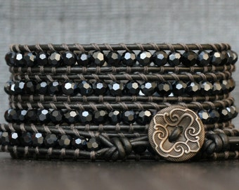 wrap bracelet- inky night blue black crystal on pewter leather- smoke gray beaded leather boho jewelry