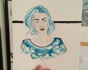 Blue (Original watercolor painting)