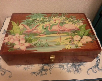 Wood Box with Flamingo Pattern