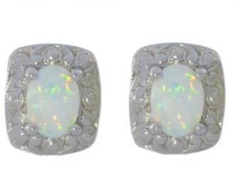 Opal Oval Stud Earrings .925 Sterling Silver