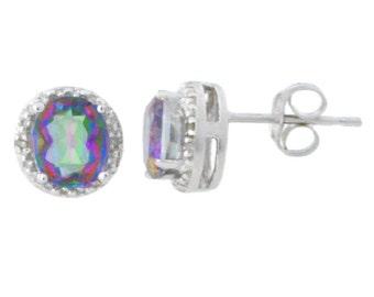 Mystic Topaz & Diamond Round Stud Earrings .925 Sterling Silver