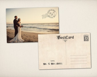 "Thank You Wedding Postcard, Modern Vintage, Elegant Stamp 4"" x 6"" Photo PRINTS (TQ7)"