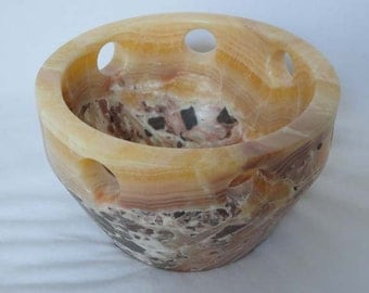 FREE SHIPPING on orders of 39.00 or more!!! - Use Coupon Code FREESHIP at checkout - Alabaster Bowl Sculpture / Art Piece / Sculpture