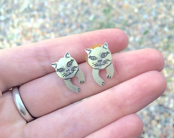 vintage kitty cat earrings