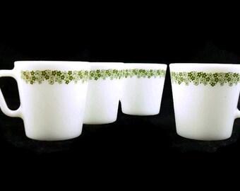Pyrex Spring Blossom D-Handle Coffee Mugs * Set of 4 * Crazy Daisy