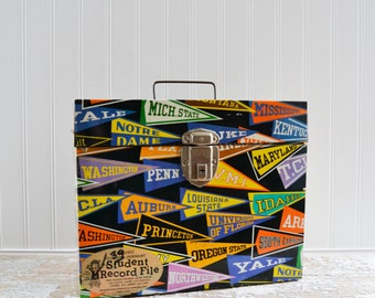 Vintage Metal File Box with School Felt Pennant Design - Lock Case Storage