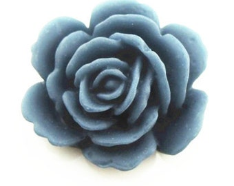 12 pcs of resin rose cabochon 20mm-20 more colors mixture-0054--42-navy blue