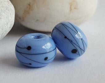 Pair of Periwinkle Blue & Black 'Scribble' Lampwork glass beads, Earrings, Jewellery, Jewelry,