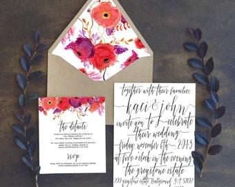 DIY PRINTABLE - Red Floral Watercolor Wedding Invitation Suite - Boho - Wine - Cranberry  - Burgundy- Flowers - Calligraphy - Digital