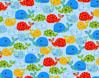 Oceans of Fun 7183 11 Blue, Whales by Blank Quilting