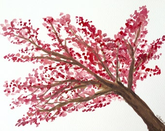 30% off sale Cherry blossom art, original painting, 12 x 9 inches gift for her