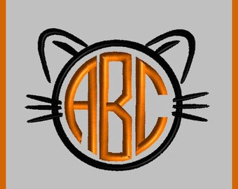 Halloween Cat Face Monogram Applique Cat Face Applique Halloween Embroidery Design Halloween Cat Embroidery Design