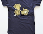 Navy Blue Women's Cotton Scoop T-Shirt Gold Foil Bike by The First Snow