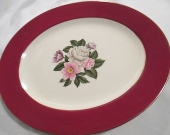 Vintage Homer Laughlin Cavalier Margaret Rose Oval Serving Platter