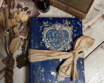 Wedding guest book or photo album in navy and gold vintage style wedding scrapbook album, Made To Order 9x6 inches