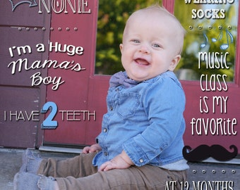 1st Birthday Photo Stats, Facts, & Details about Baby on Background Boy or Girl Digital File to Print