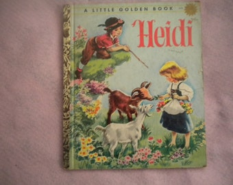 Vintage Mid Century Little Golden Book..HEIDI..1954..Children's Book..Classic Story..Classic Story Book..Reading