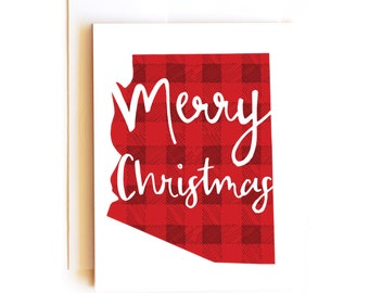 Merry Arizona Christmas Card - Seasons Greeting Card - Happy Holidays Card - Red Plaid Christmas - Confetti Card
