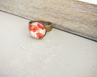 Small poppy ring, 12mm red poppy ring, delicate ring, Red poppies,Poppy jewelry, gift for her