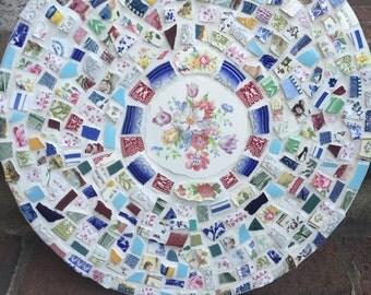 Large Vintage Broken China Mosaic Wall Hanging - 100% Recycled - FREE SHIPPING