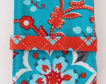 Sock DPN Knitting Needle Case Crochet Hook Holder Teal and Tomato Red Floral