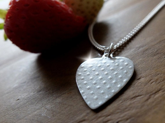 Silver Strawberry Heart Necklace, Silver Strawberry Heart Pendant, Wedding Anniversary Gift, Strawberry Necklace, Fruity Jewellery, Nature