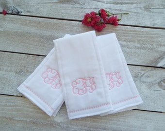 Monogrammed Burp Cloth - Set of 3