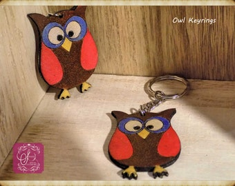Hand painted owl keyring