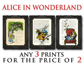 alice in wonderland decor set of 3 prints, alice print set wall hanging kids room art, alice in wonderland decorations buy 2 get 1 free