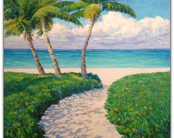 Caribbean Turquoise Original Oil Painting Tropical Beach Palm Trees White Sand Path