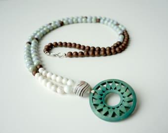 Teal Pendant Necklace, Boho Necklace