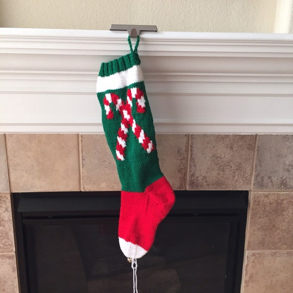 Hand Knitted Candy Cane Christmas Stocking