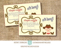 Baby Shower Games-Diaper Raffle- Instant Download-Customization NOT Included- Cowboy Themed