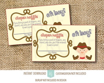 Baby Shower Games- Cowboy Baby Shower-Diaper Raffle- Instant Download-Customization NOT Included- Cowboy Themed