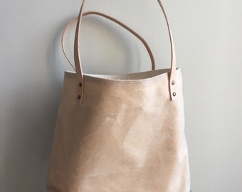 Waxed Canvas Tote with Tan Leather Handles - Natural
