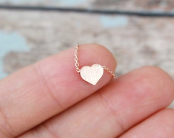 Rose Gold Tiny Heart Necklace, Rose Gold Small Heart Necklace,Bridesmaid Gift, Bridal Shower Gift, Flower Girl Necklace, Birthday Gift
